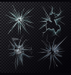 smashed or broke window screen or glass cracks vector image
