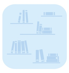 Books on the shelves - simply blue vector image vector image