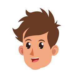 character face head boy happy vector image vector image