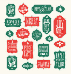 christmas design elements for gift tags greetings vector image vector image