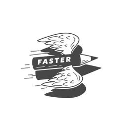 faster flying pensil vector image