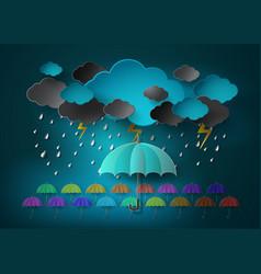 umbrella with heavy fall rain in the dark sky vector image