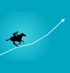businessman on horseback running on graphic chart vector image vector image