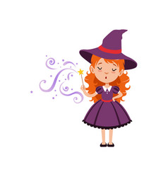 cute small witch casts a spell with the magic wand vector image vector image
