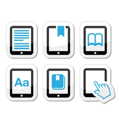 E-book reader e-reader icons set vector image vector image