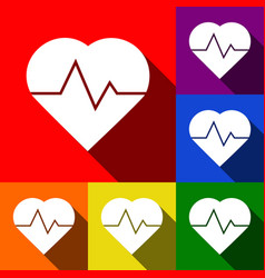 heartbeat sign set of icons vector image vector image