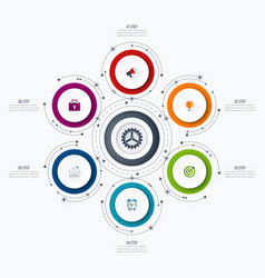 infographics template 6 options with circle vector image