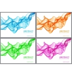 Set of wavy abstract background vector image