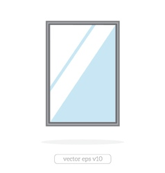Silver mirror with reflection at the wall vector image vector image
