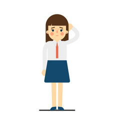 Tired young woman with hand behind head gesture vector