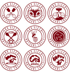 vintage labels set concept of oak pizza vector image vector image