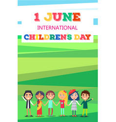 1 june childrens day poster with kids on field vector