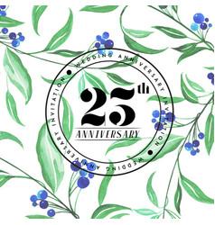 25 wedding anniversay invitation watercolor vector image