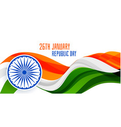 26th january republic day wavy flag banner concept vector