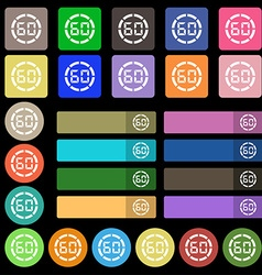 60 second stopwatch icon sign set from twenty vector