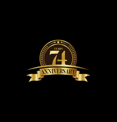 74th years anniversary logo template design vector