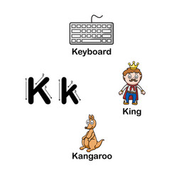 Alphabet letter k-keyboard king kangaroo vector