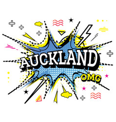 Auckland comic text in pop art style isolated on vector