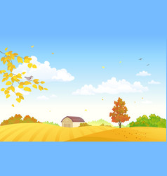 autumn farm fields vector image