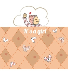 Baby shower card with little girl sleep vector image