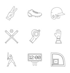 Baseball goods icons set outline style vector