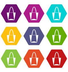 big bag icon set color hexahedron vector image