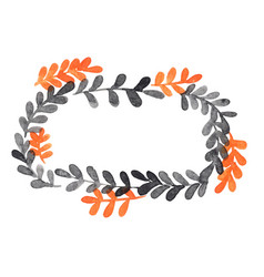 Black and orange fern wreath watercolor vector