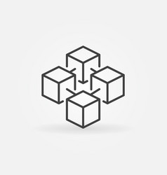 Blockchain cube concept icon in thin line vector