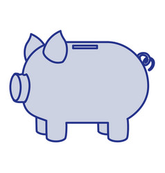 Blue silhouette of moneybox in shape of pig vector