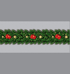 border with christmas tree branches red bow vector image