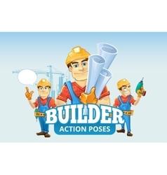 Builders or handymans in helmet with construction vector