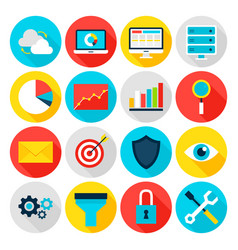 Business analytics flat icons vector