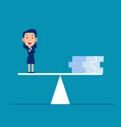 business money on balance scale weighing of vector image