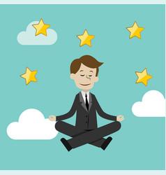businessman doing yoga in lotus pose vector image