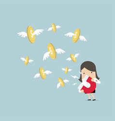 businesswoman attracting gold coin with magnet vector image