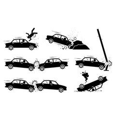 Car accident and crash depict a car hit a man vector