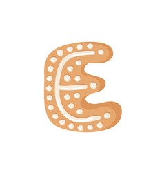Cartoon ginger bread cookie letter e hand drawn vector