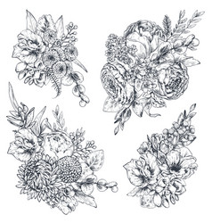 collection four floral compositions vector image