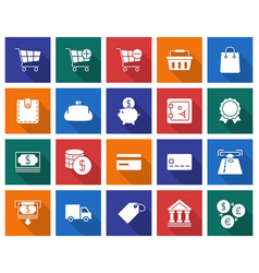 collection of square icons finance and banking vector image
