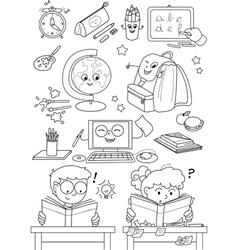 Coloring school elements for little kids vector
