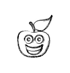 contour kawaii fruit apple happy icon vector image
