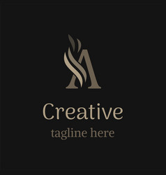 creative a logo on black background trendy emblem vector image
