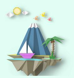 Cut birds mountain yacht and fly island vector