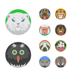Cute animals emotions icons isolated fun set face vector