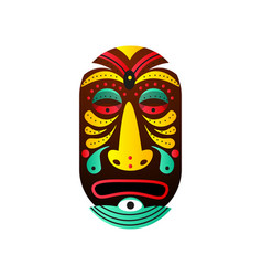 cute bushman wood mask with drop element and vector image