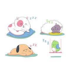 cute sleeping animals cartoon characters set vector image