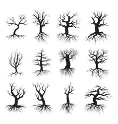 Dead tree flat style set vector