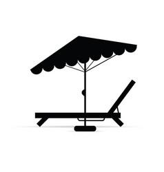 Deckchair with umbrella in black vector