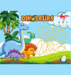 Dino board game template vector