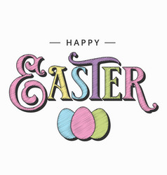 easter card with eggs on white background vector image